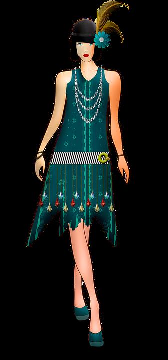 20er Jahre Kleid Flapper Mode Damen