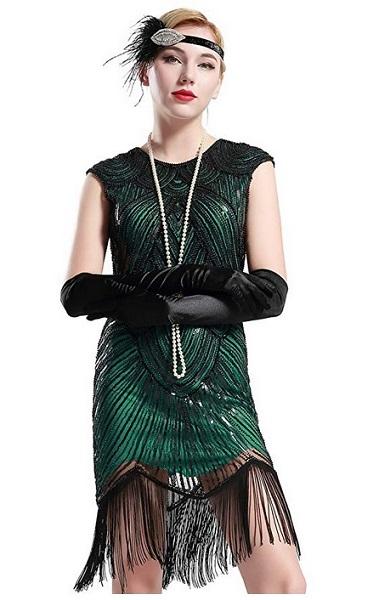 20er Jahre Outfit Charleston Kleid Accessoires